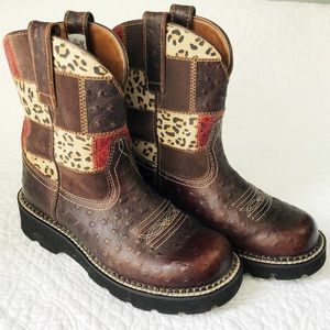 Ariat Fatbaby brown leather/suede patchwork boots